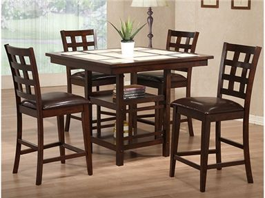 Shop for Primo International 5 Piece Counter Height Dining Set, 1021, and other Dining Room Tables at #SimplyDiscount #Furniture in Santa Clarita, CA. 5 Piece Counter Height Dining Set features a tile top square table with storage shelving at the base and grid back stools with upholstered seats.
