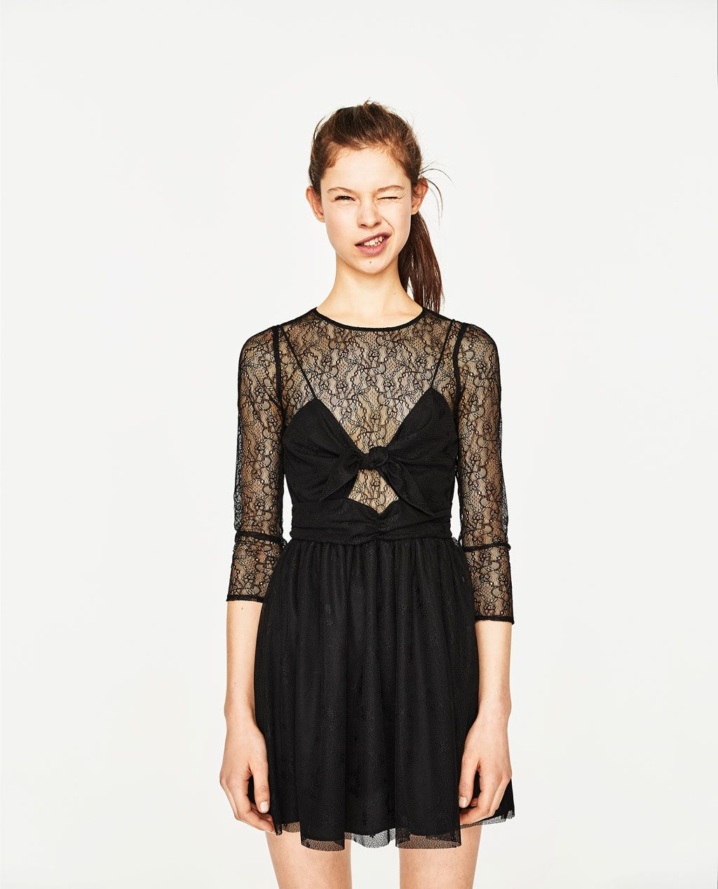 Image 12 of DRESS WITH LACE AND BOW from Zara  Schwarze
