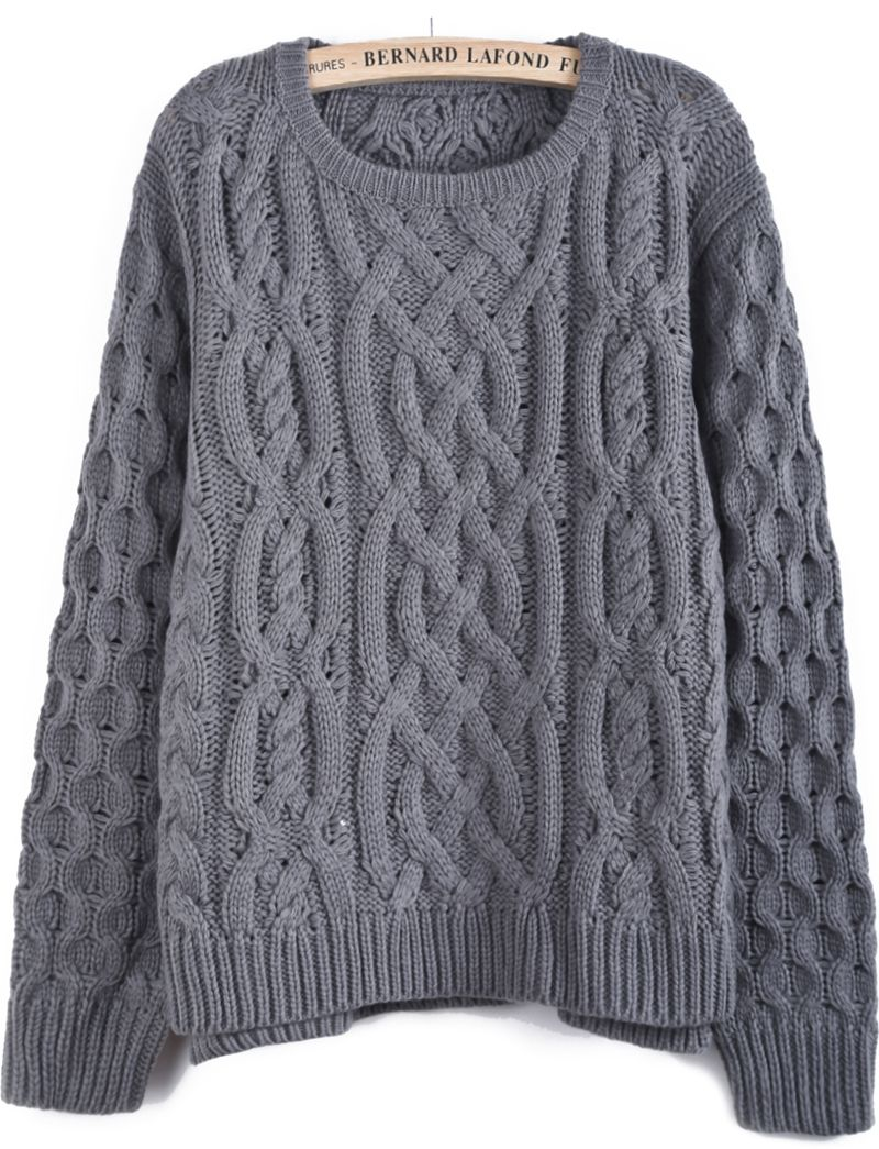 Grey Long Sleeve Cable Knit Dipped Hem Sweater - Sheinside.com ...