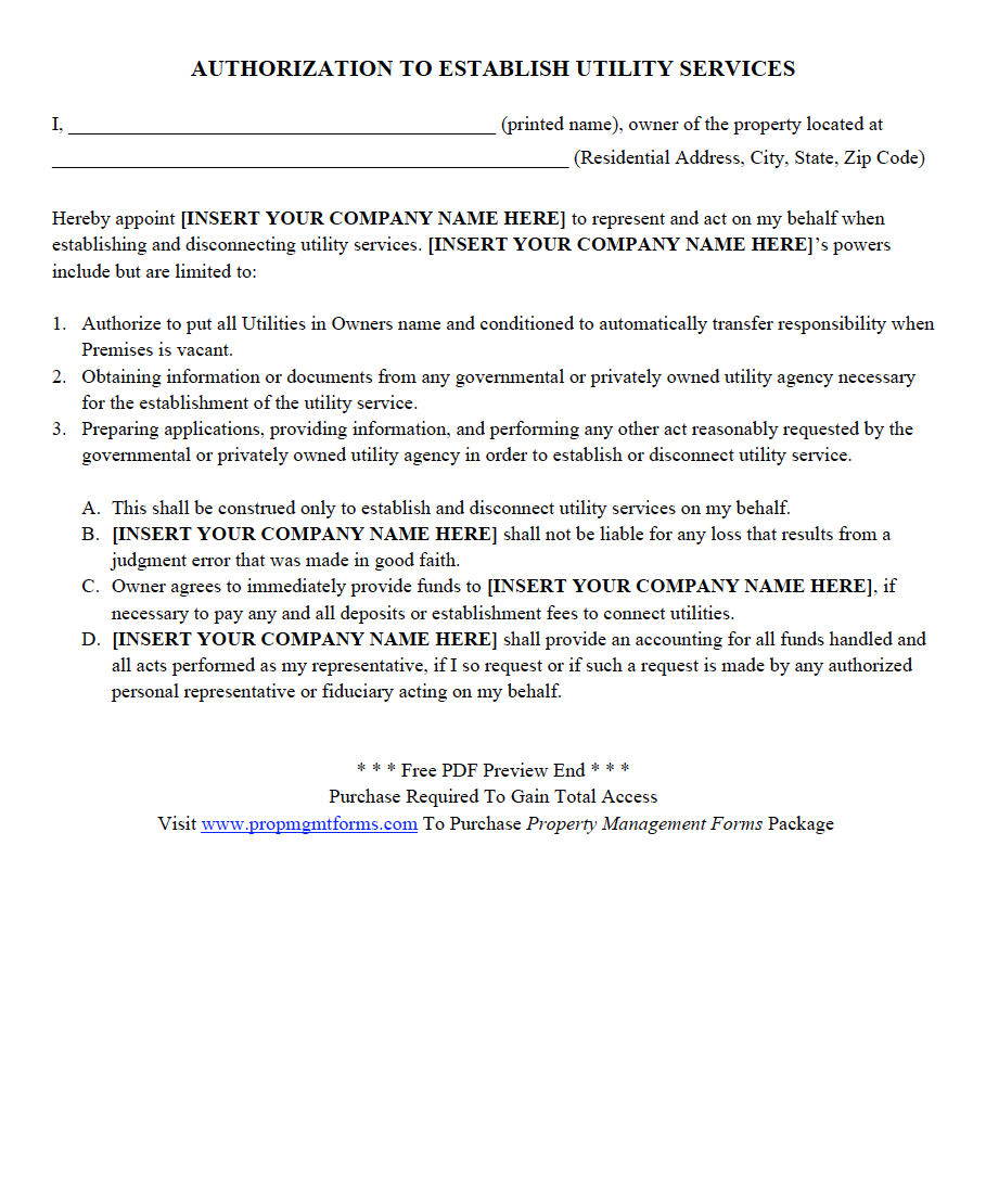 Authorization To Establish Utility Services Pdf Property Management Marketing Property Management Lettering