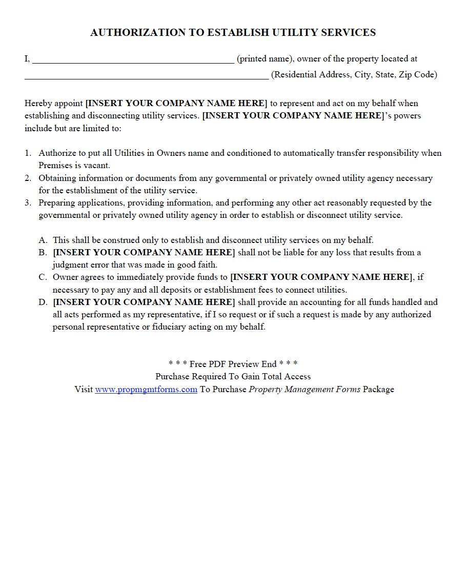 AUTHORIZATION TO ESTABLISH UTILITY SERVICES PDF Property