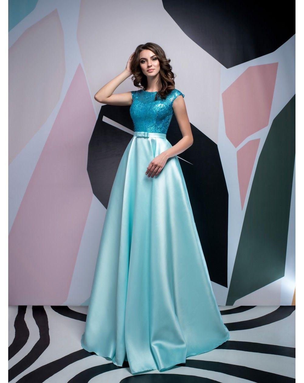 771d6e3cb7b6 Dlhé luxusné saténové spoločenské šaty s flitrami Isabel vhodné na ples
