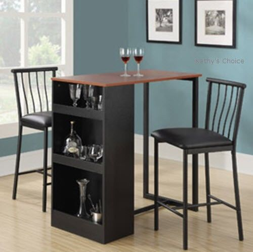 Bistro Table Set Bar Pub 3 Piece 2 Stools Dining Kitchen Furniture Storage Brown & Bistro Table Set Bar Pub 3 Piece 2 Stools Dining Kitchen Furniture ...