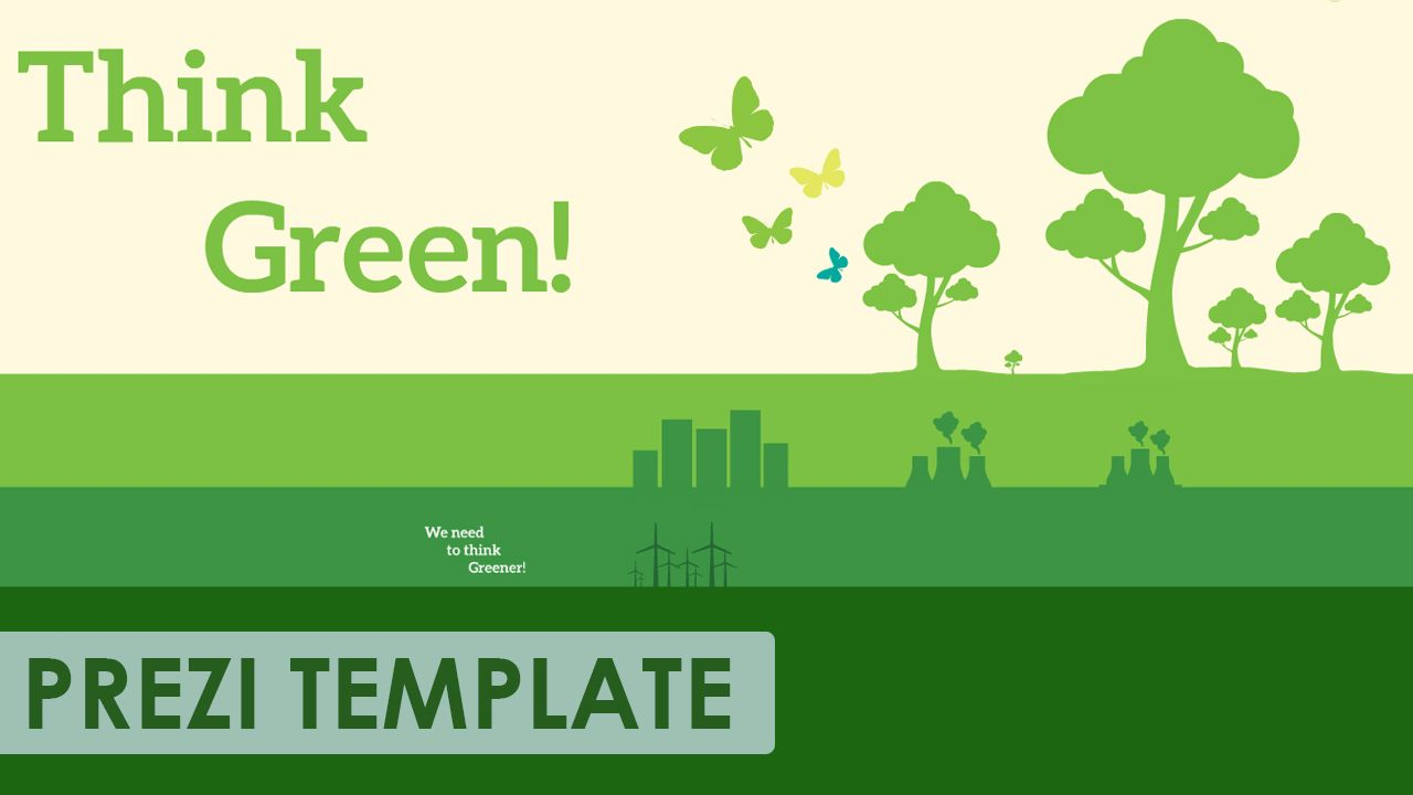 Prezi Template For A Green Thinker Trees Nuclear Power Plant Wind Layout Design Turbines Butterflies And Skyscrapers In Various Shades Of Use The Separated Elements Create