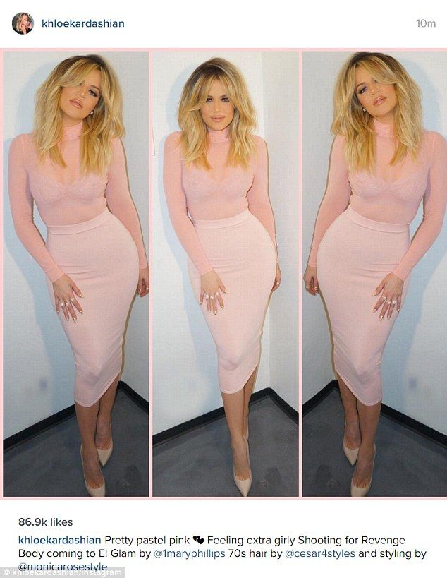 046a860f Pretty in pink: The star showed off her own 'revenge body' in a tight  pencil skirt and she.