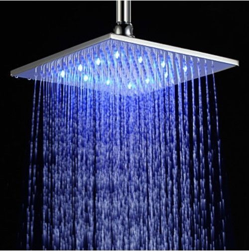 Led Brushed Nickel Brass Bathroom Shower Head 10 Square Rain