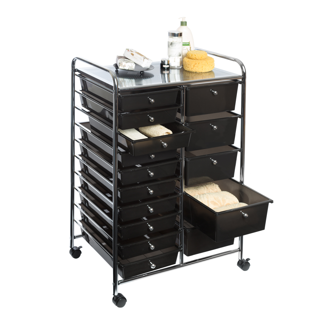 15 Drawer Organizer Cart W Wheels Black By Seville Classics Walmart Com In 2020 Organization Cart Drawer Organisers Desk Organization