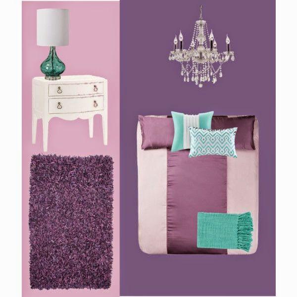 Lilac and turquoise bedroom http://newdonnablog.blogspot.com/2014/09/giorni-8-e-9-arredamento-fai-da-te.html