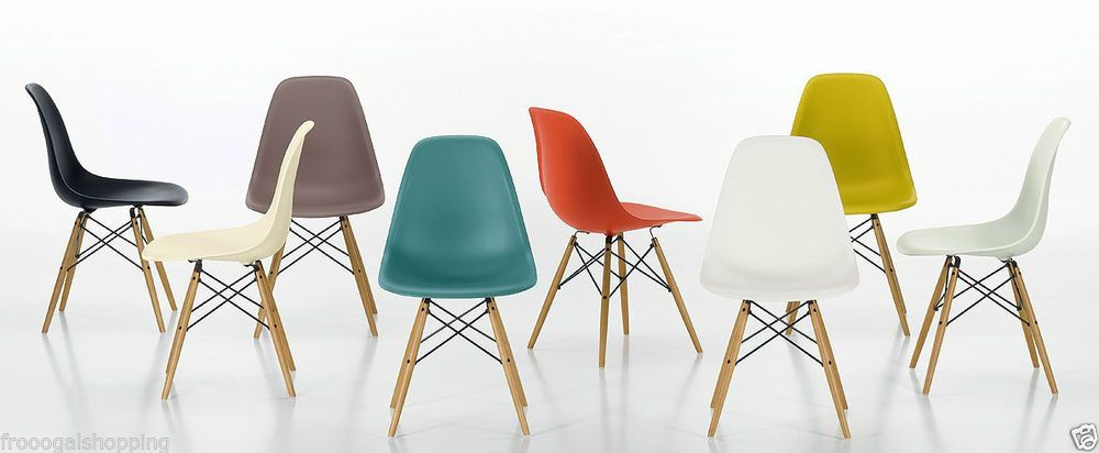 Set Of 2 Eames Style Plastic Molded Wood Eiffel Dining Chairs