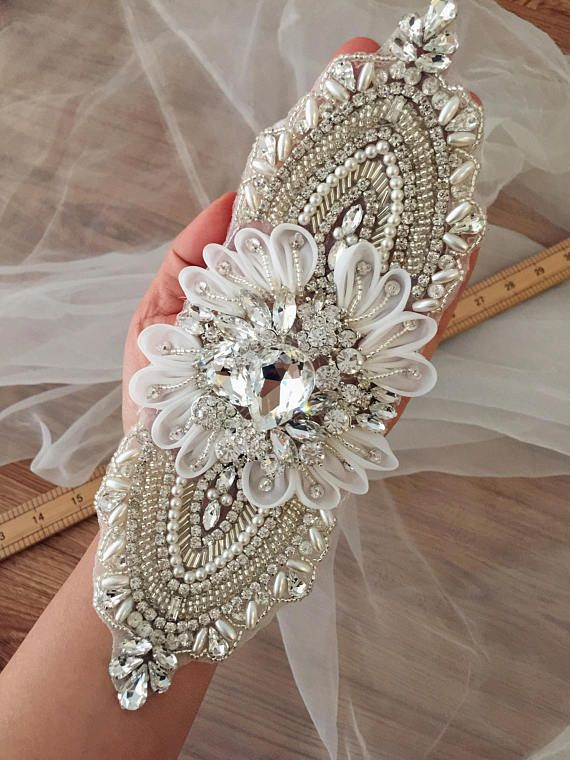 3D Flower Rhinestone Applique Beaded Crystal Applique for Bridal