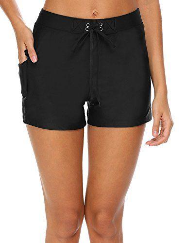 cdc97dcd0c Ekouaer Women Summer Sports Slit Swim Beach Board Shorts Bikini Bottoms  With Pocket