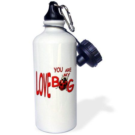 3dRose You are My Love Bug, Sports Water Bottle, 21oz, White