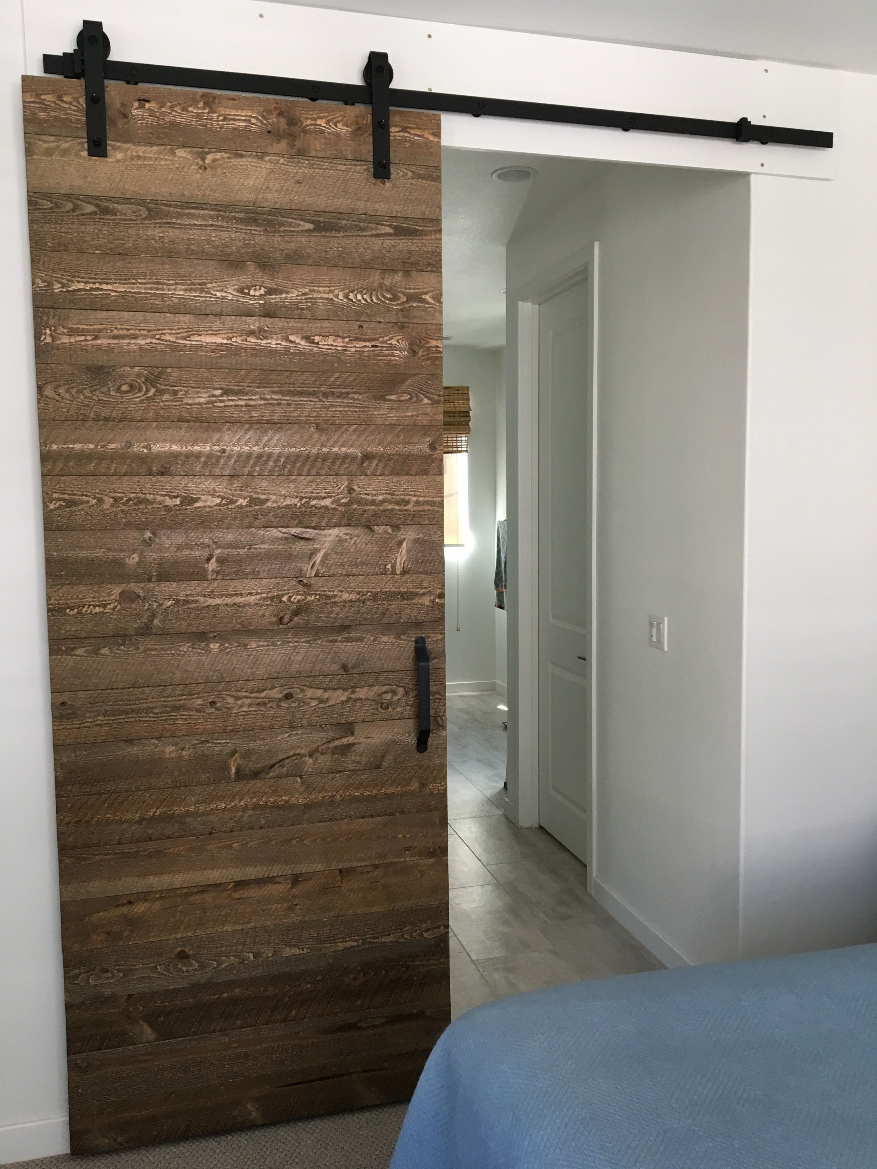 Sliding barn door using ghost wood from the Home Depot
