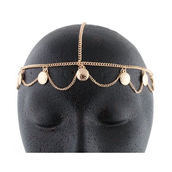 Goldtone Small Discs Head Chain (20 BRL) ❤ liked on Polyvore featuring hats, accessories, head chain and jewelry