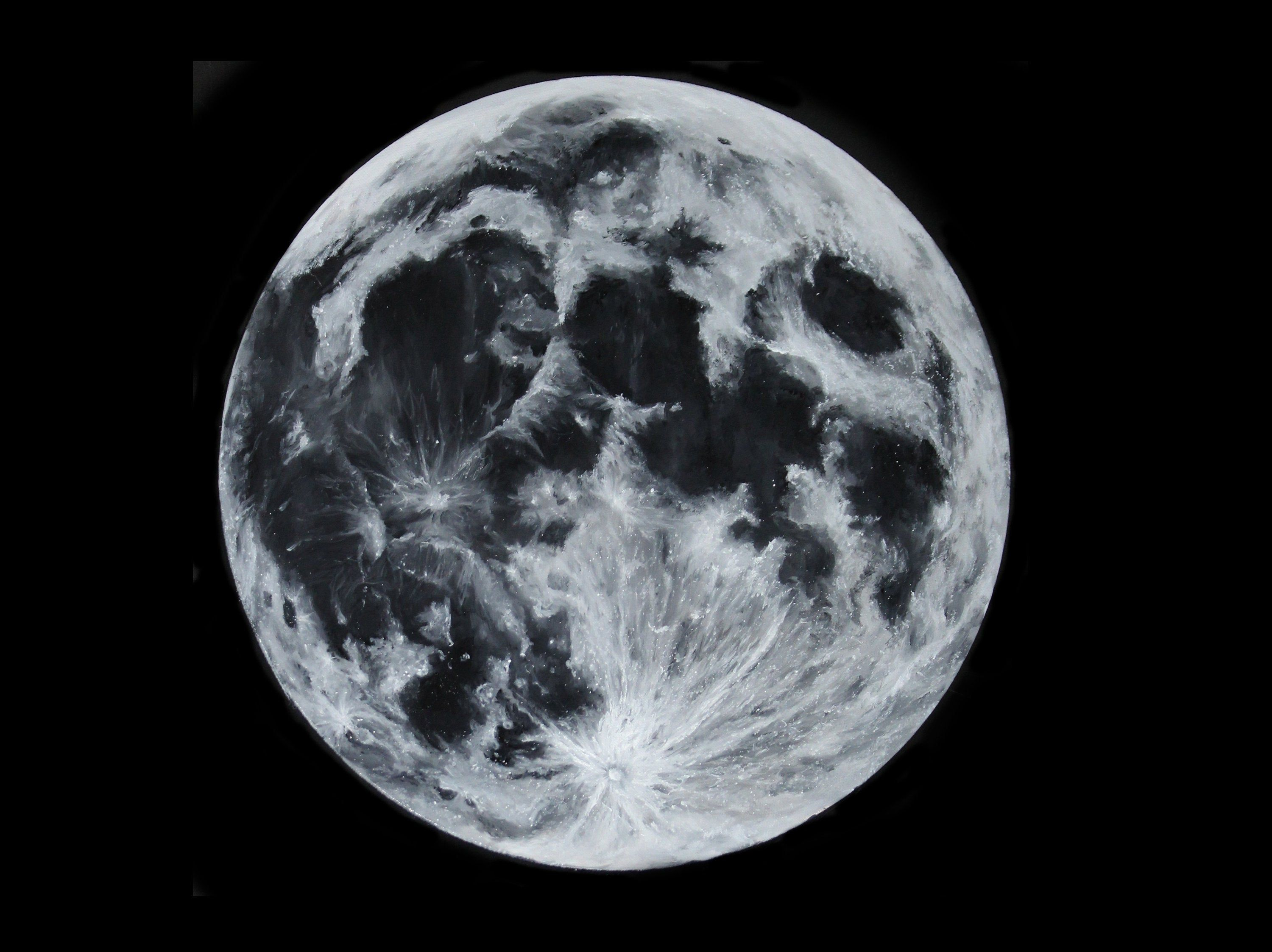 16 Round Original Oil Painting Moon Luna Dark Night Sky Outer Space Astronomy Science Wall Art In 2020 Original Oil Painting Oil Painting Art