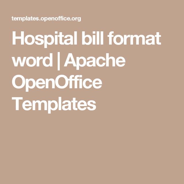hospital bill format word apache openoffice templates