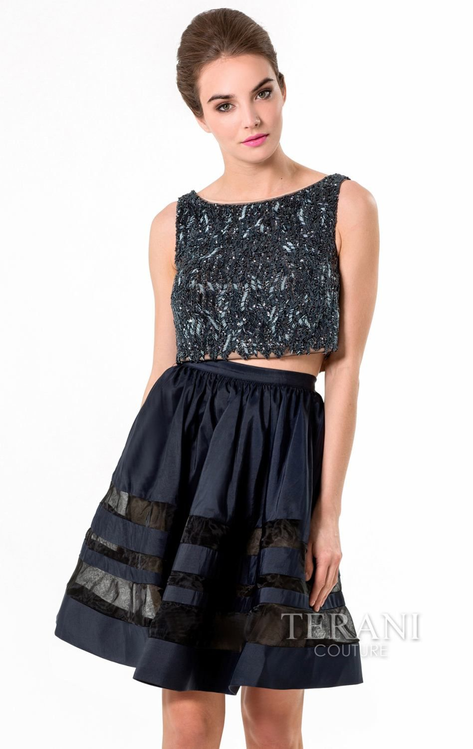 Dress to impress in the stunning two piece dress terani couture