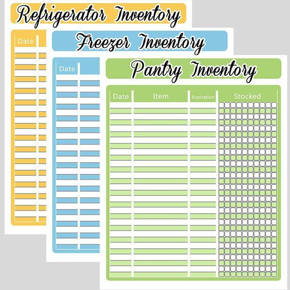 Kitchen Organization List: Printable+Refrigerator+Inventory+List