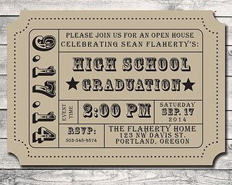 Graduation Party Party Invitation Admission Movie Ticket Stub