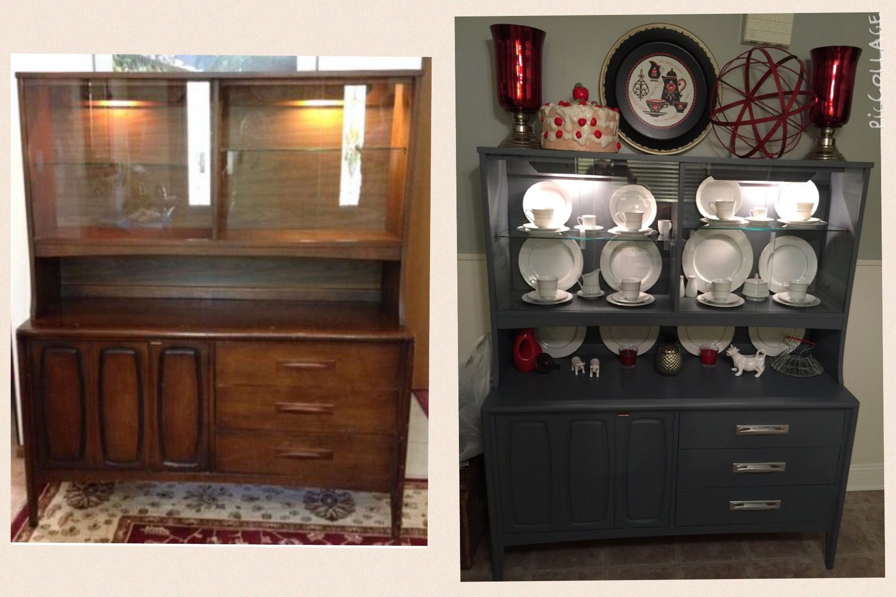 Hutch buffet makeover Eggshell paint for the body and silver spray