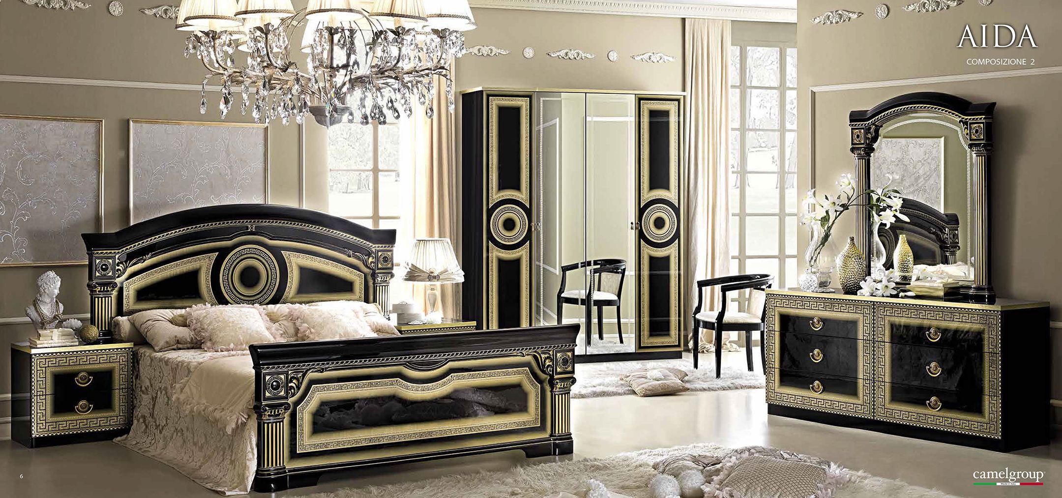 Unique Black Lacquer Bedroom Set