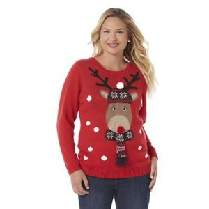 Juniors Plus Ugly Christmas Sweater Reindeer Sears Clothing