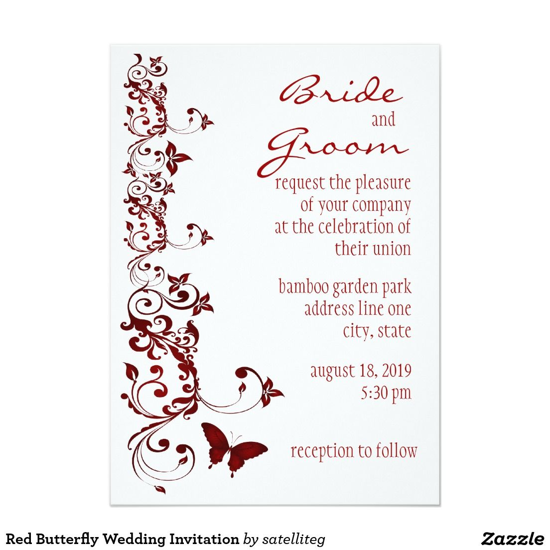 Red Butterfly Wedding Invitation Red Butterfly Butterfly And Shopping