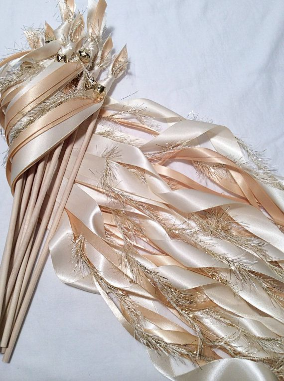100 Wedding Ribbon Wands Ivory And Toffee With Metallic Gold Frayed Bell Send Off