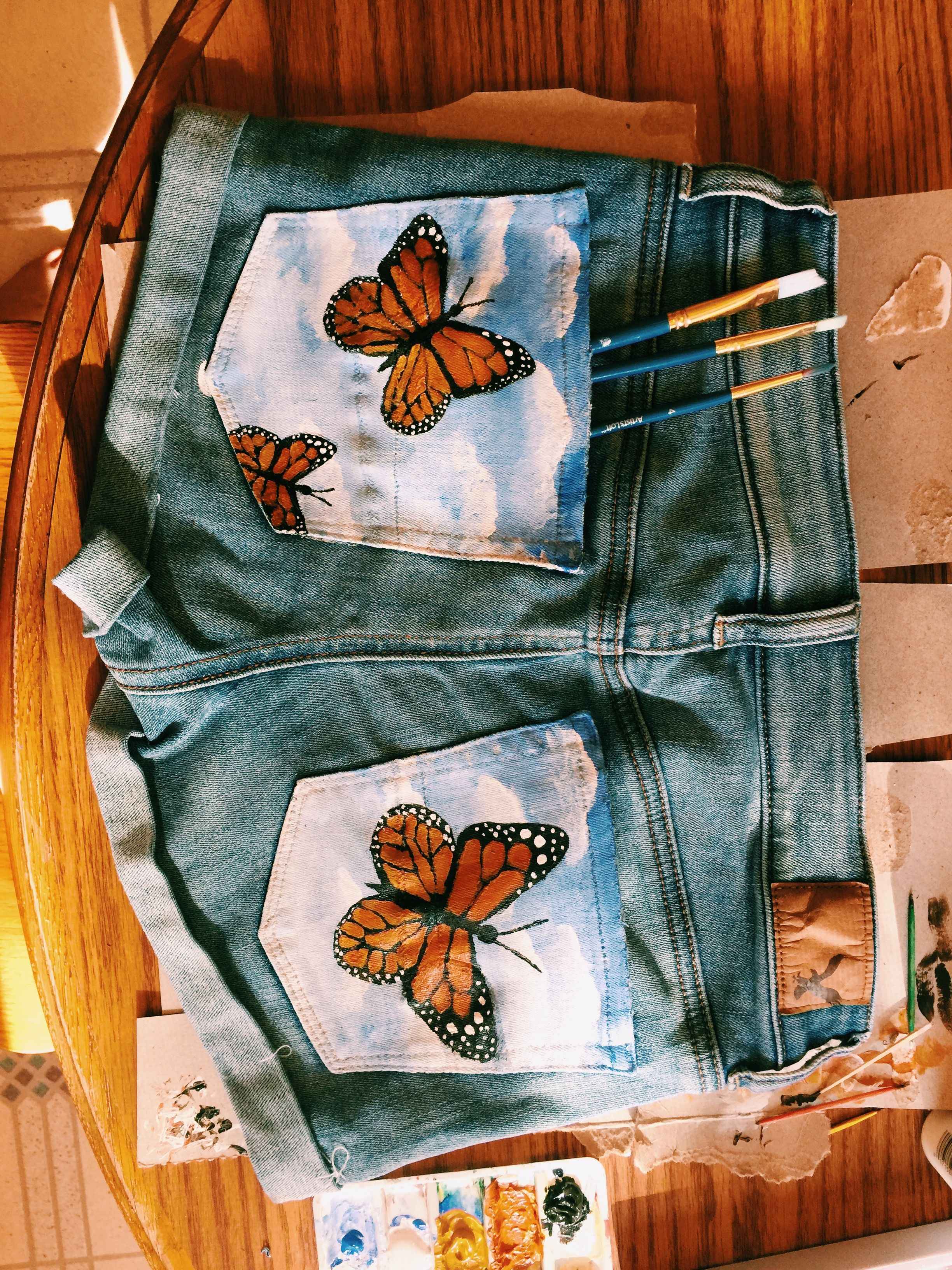Butterflies painted clothes diy painted clothes hand
