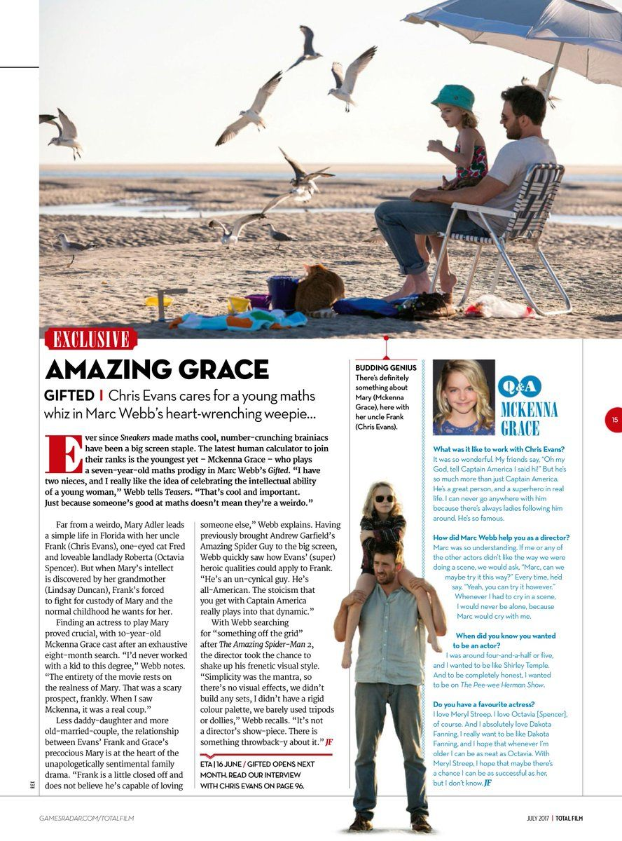 Not sure of the magazine, article about Gifted (movie) in 2017