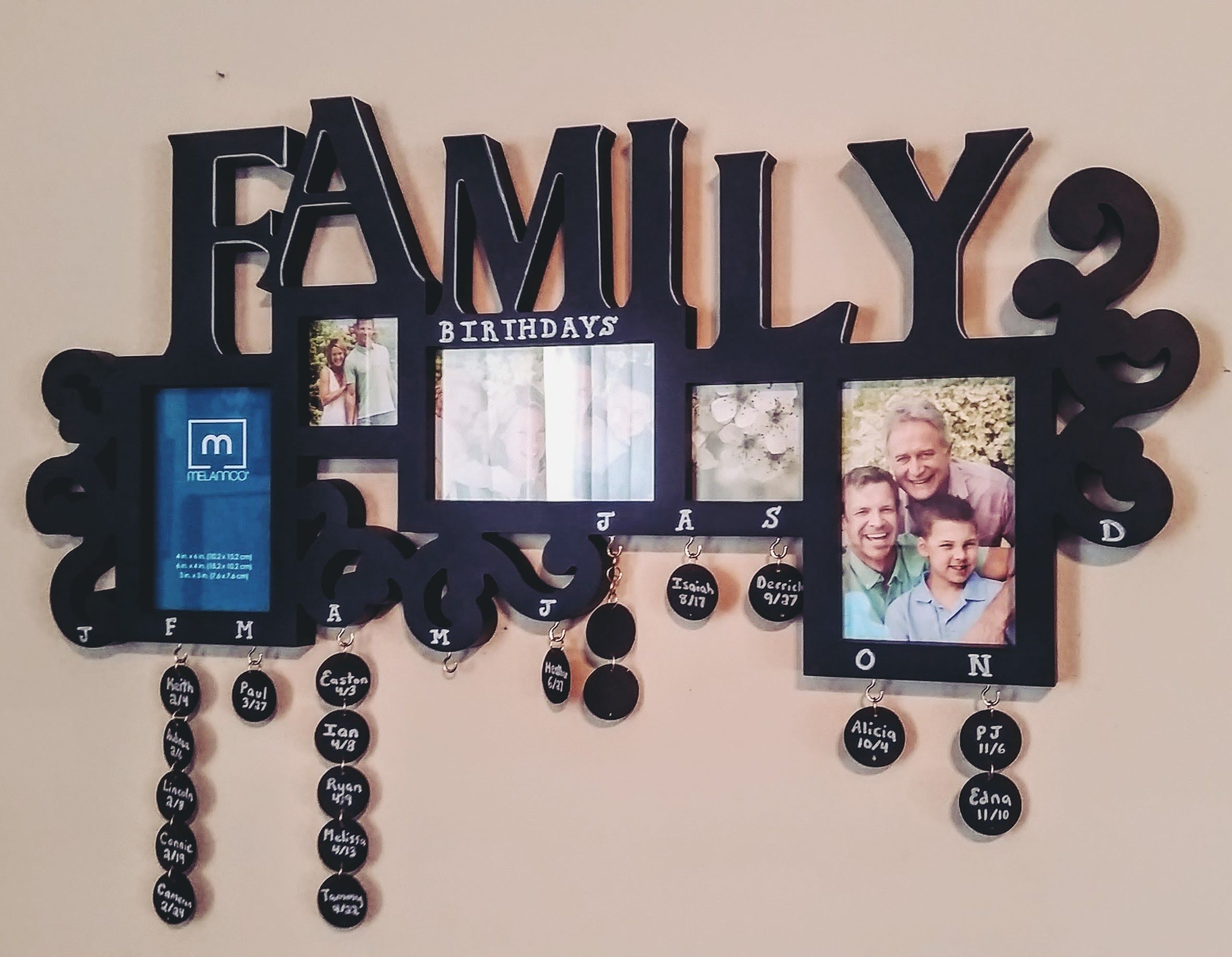 Family Birthdays Calendar Sign/Frame
