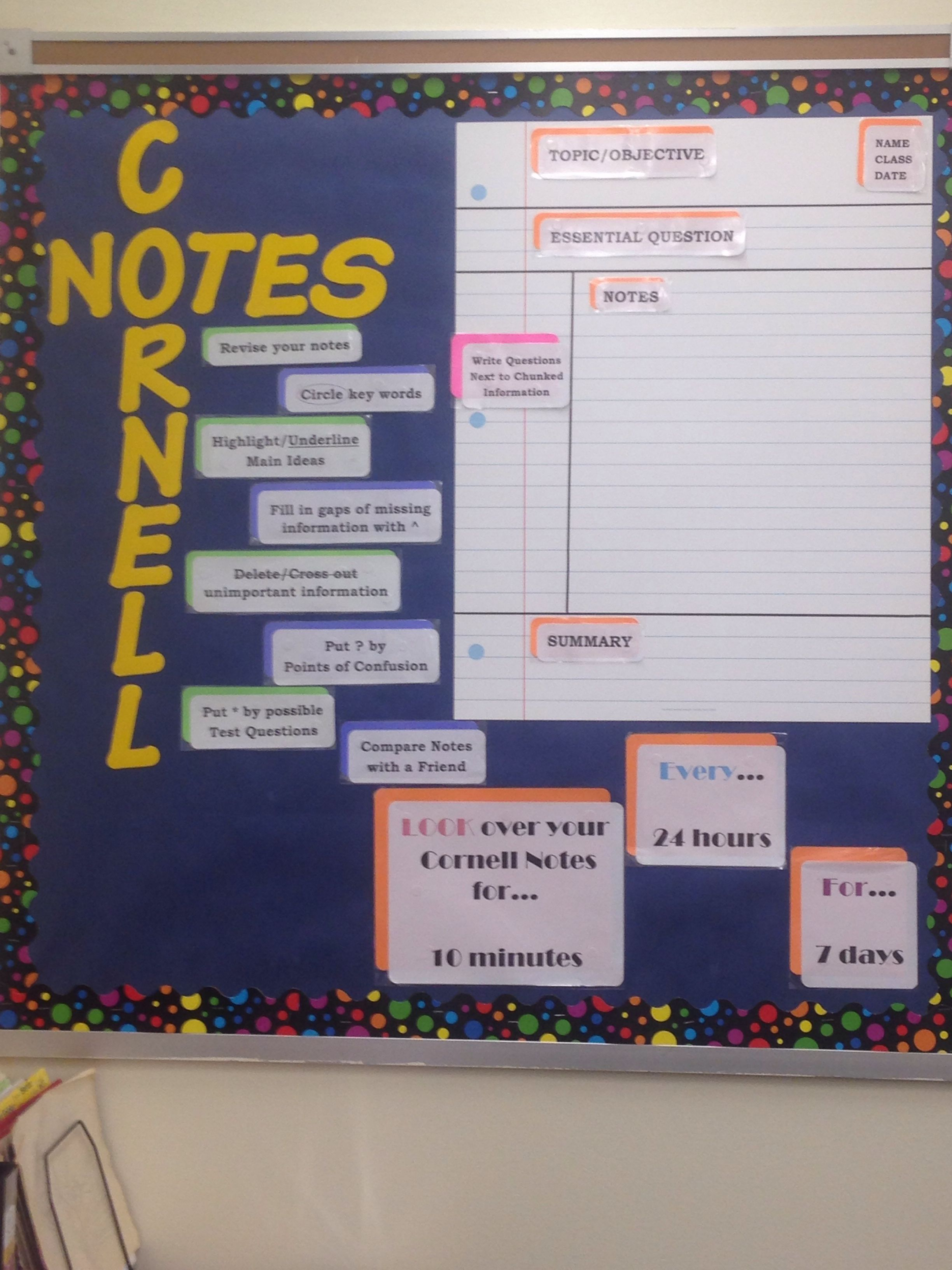Cornell Notes Bulletin Board AVID Pinterest