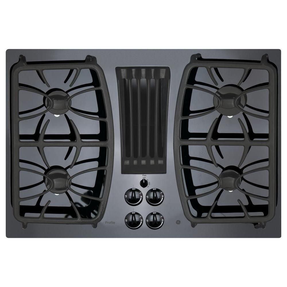Ge Profile 30 In Gas On Glass Downdraft Gas Cooktop In Black With 4 Burners Downdraft Cooktop Gas Cooktop Glass Cooktop