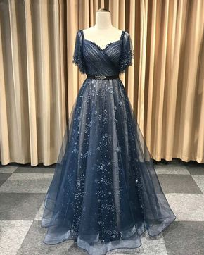 Deep Blue Lace Long A Line Prom Dress, Evening Dress With Sleeve