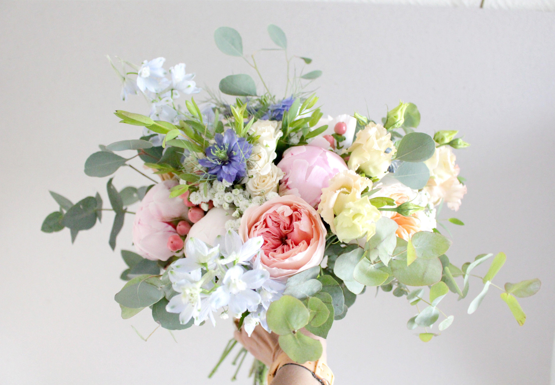 Bouquet De Mari E P Che Et Bleu  Peach