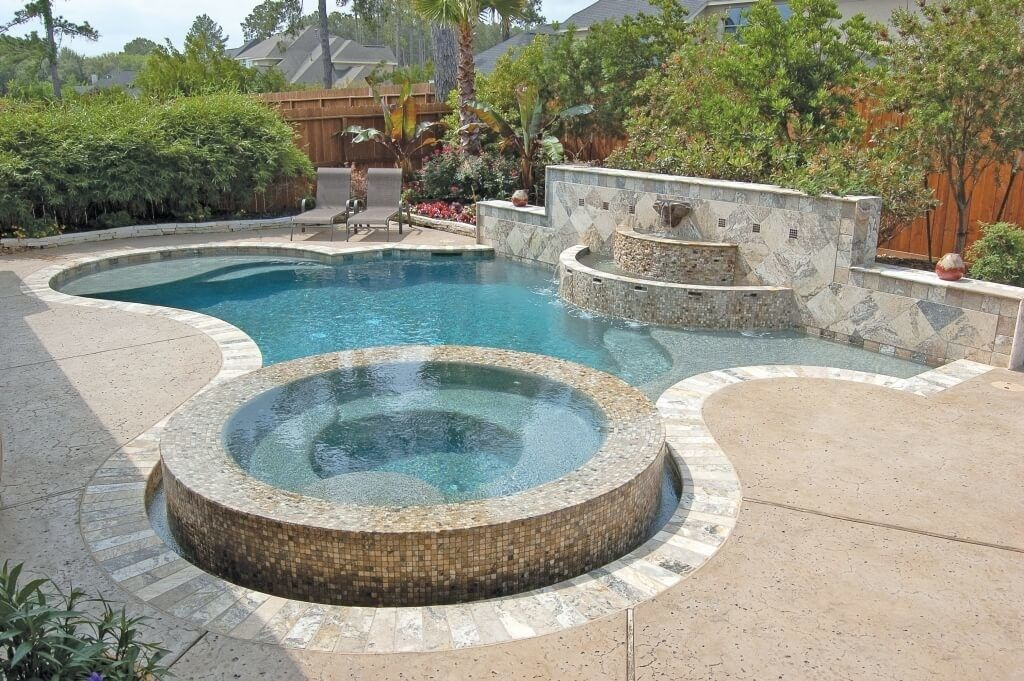Pool design modern custom pool design with raised jacuzzi for Custom swimming pool designs