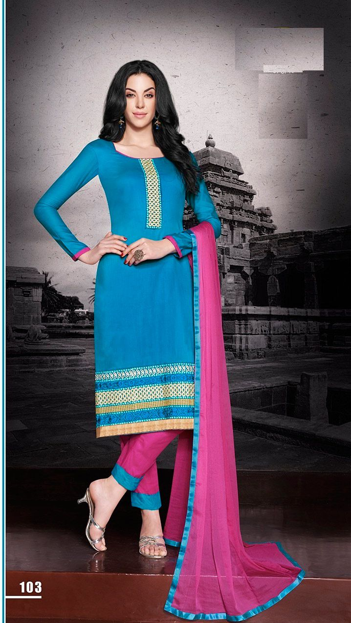 Blue Cotton Salwar Kameez Embroidery Work | Embroidery works ...