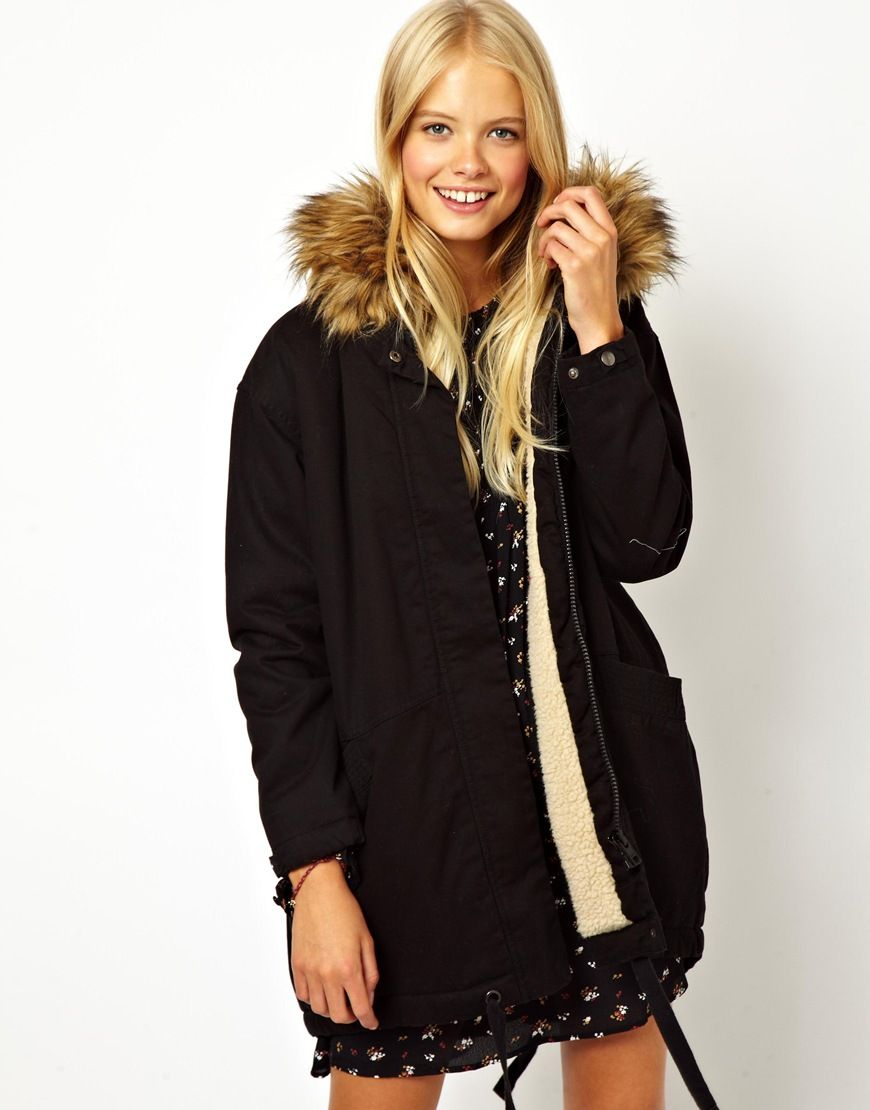 ASOS | ASOS Cocoon Parka With Oversized Fur Trim Hood at ASOS ...