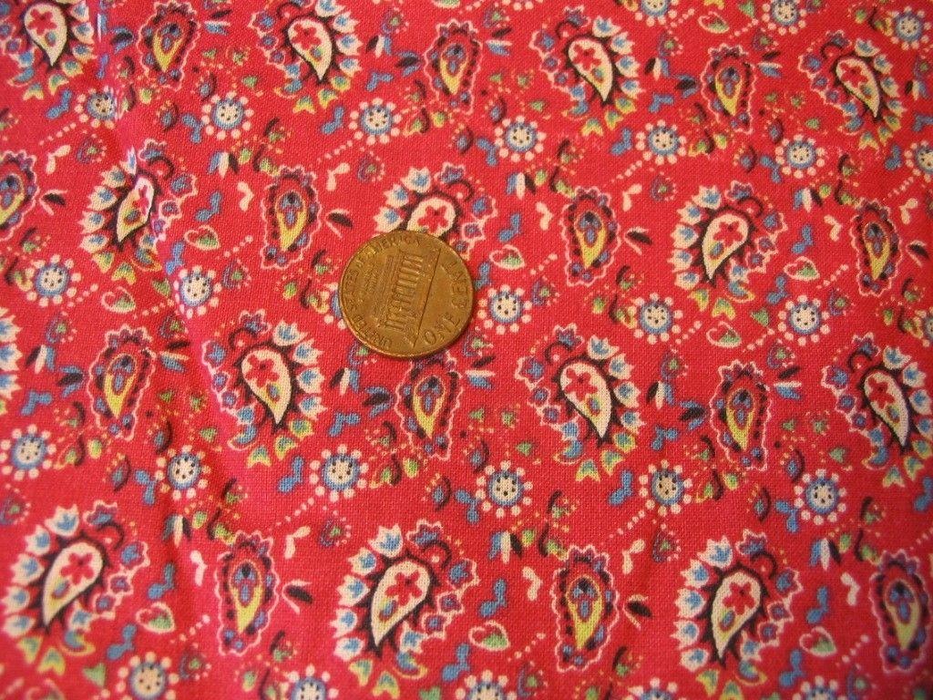 Vintage 1960s Red Quilt Paisley Fabric 1half YARD Retro