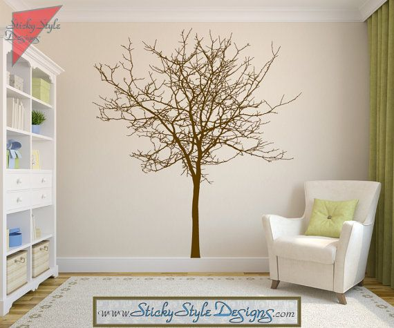 Adhesive Wall Art maple tree decal -free shipping! rustic withered bare autumn