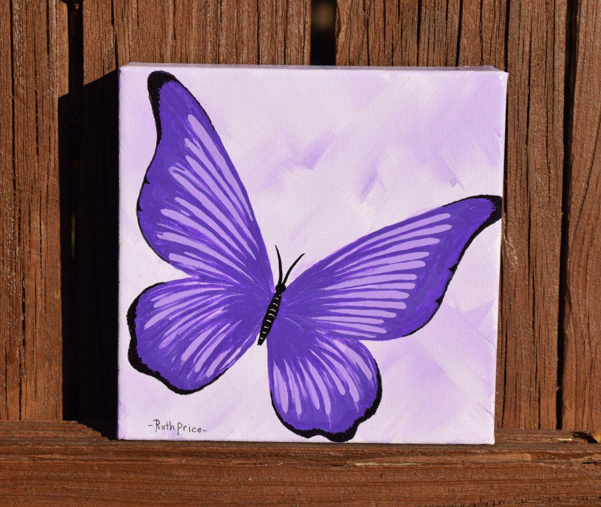 Fly Away Purple Butterfly Painting On 6x6 Canvas Butterfly Art Painting Butterfly Painting Small Canvas Art