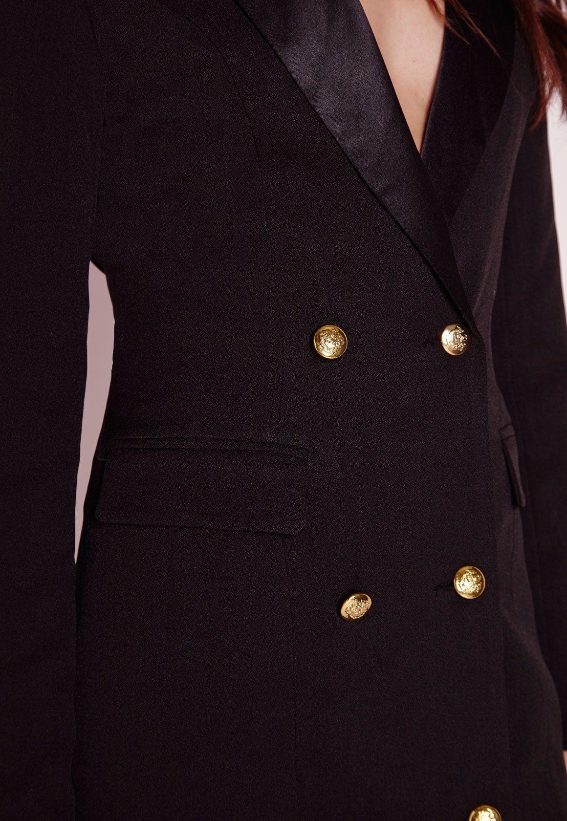 Missguided - Long Sleeve Tux Dress Black