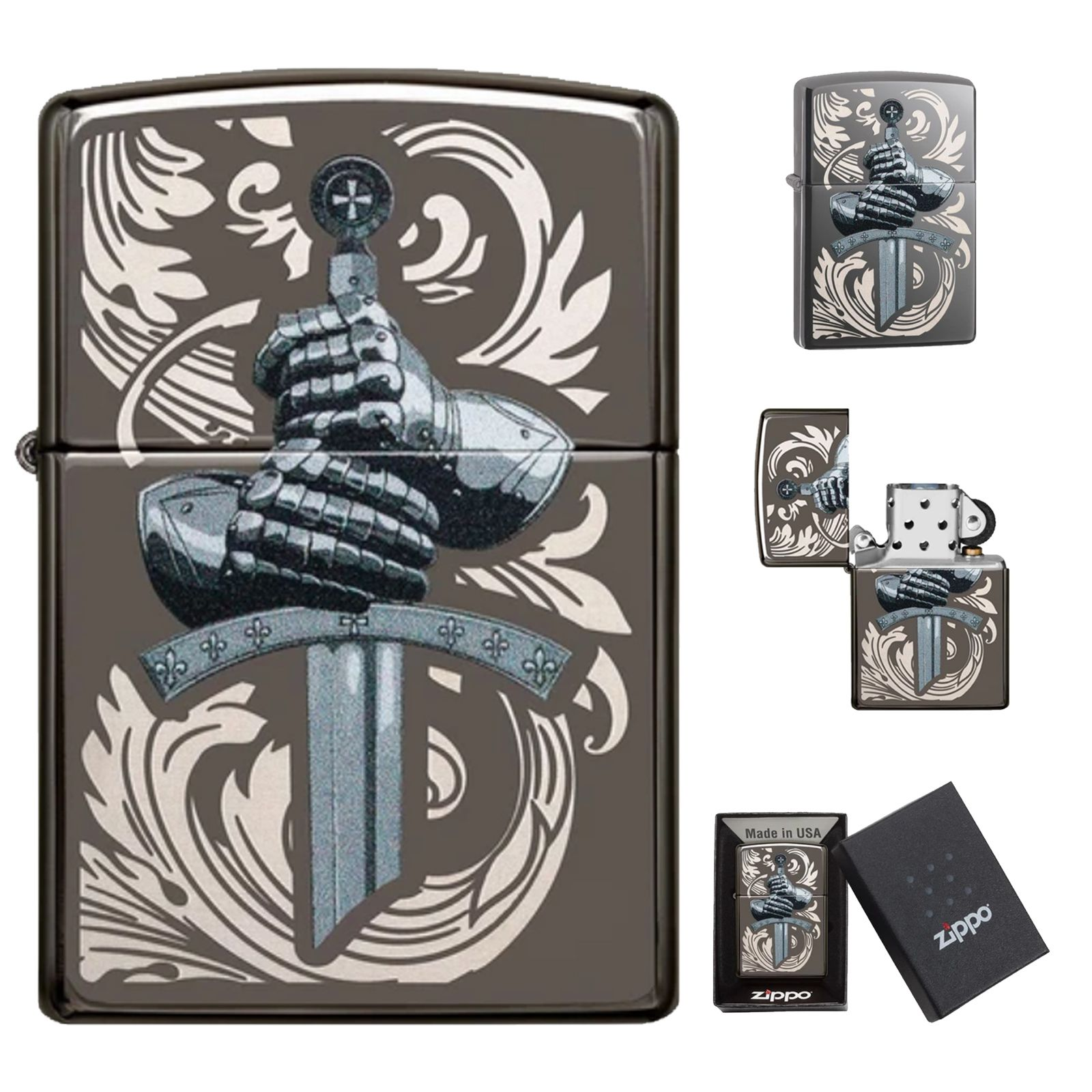 Zippo Lighter Knights Glove Design Sword Black Ice Brass Antique Windproof Gift In 2021 Zippo Lighter Zippo Lighter