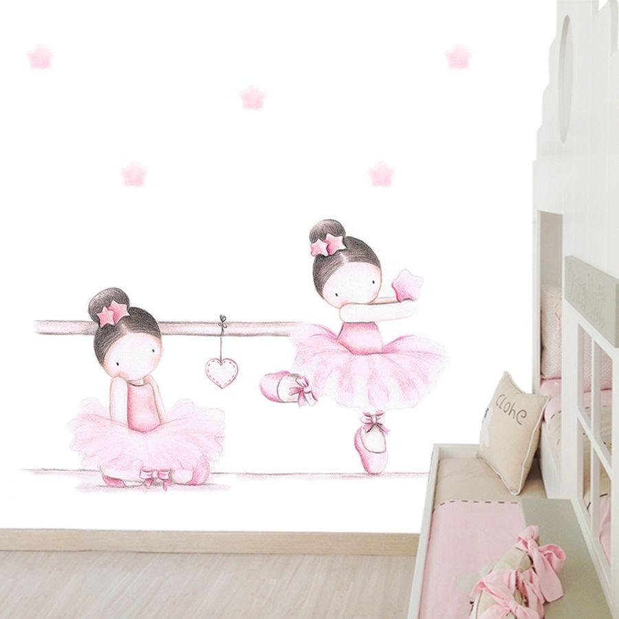 Mural infantil bailarinas barra reciclado pinterest - Cuadros bailarinas infantiles ...