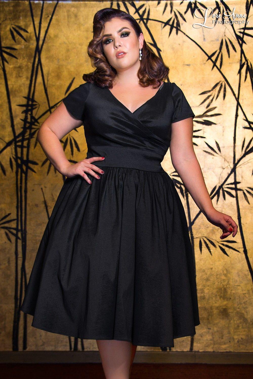 Ava Swing Dress in Black Taffeta Plus Size