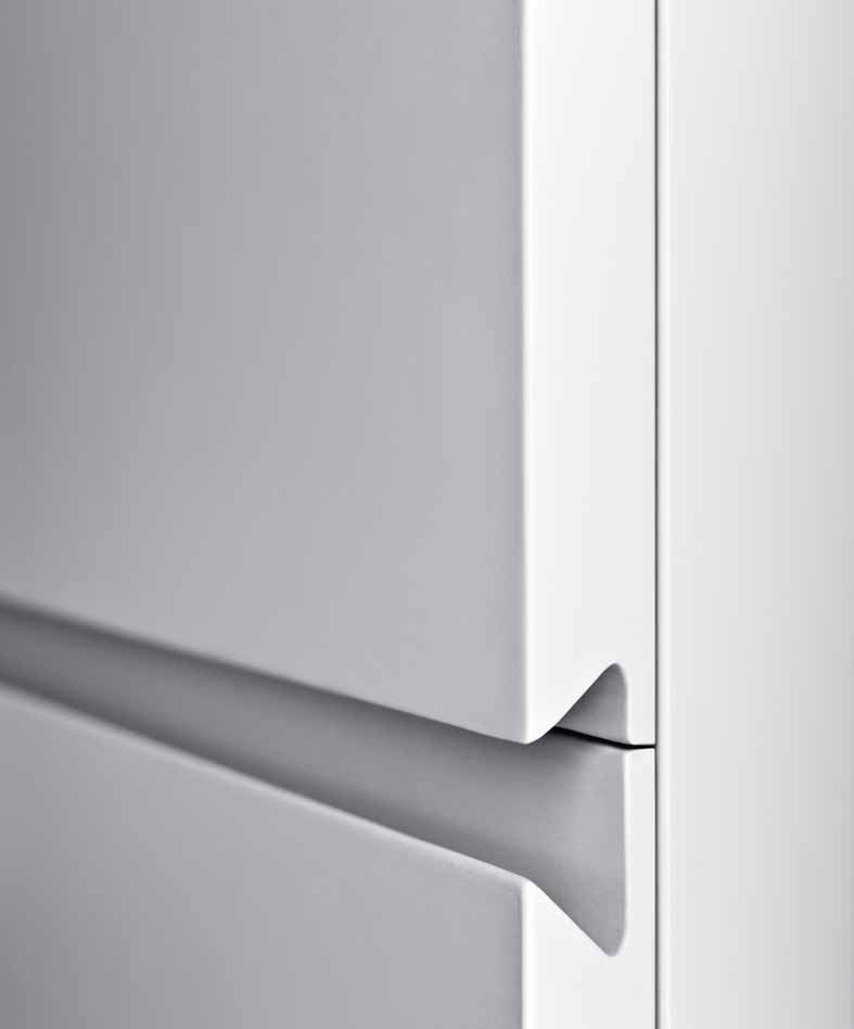 White Lacquered Cabinet With Integral Edge Pull