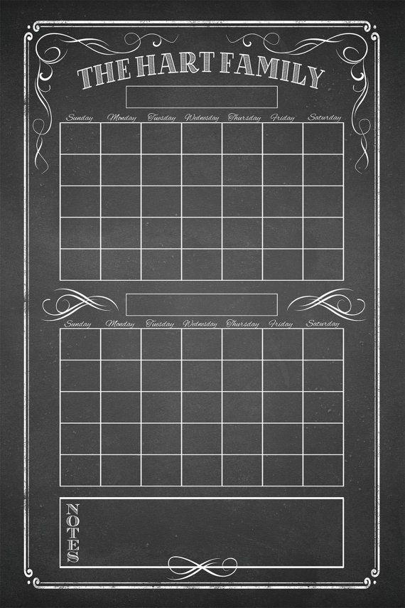 Dry Erase Calendar Printable Custom Calendar Command Etsy Chalkboard Calendar Dry Erase Calendar Dry Erase Calendar Printable