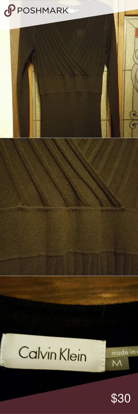 Calvin Klein Dress--worn 1x Sweater dress accordion pleat Calvin Klein Dresses Long Sleeve