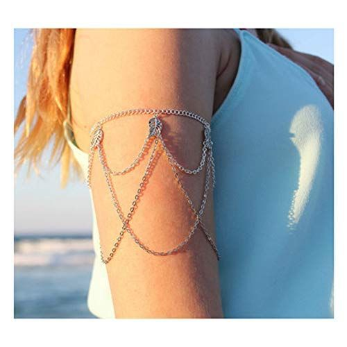 Zealmer Bohemian Turquoise Beads Armlet Synthetic Diamond Silver Chain Fringes Upper Arm Bracelet Cuff Color Leafarm