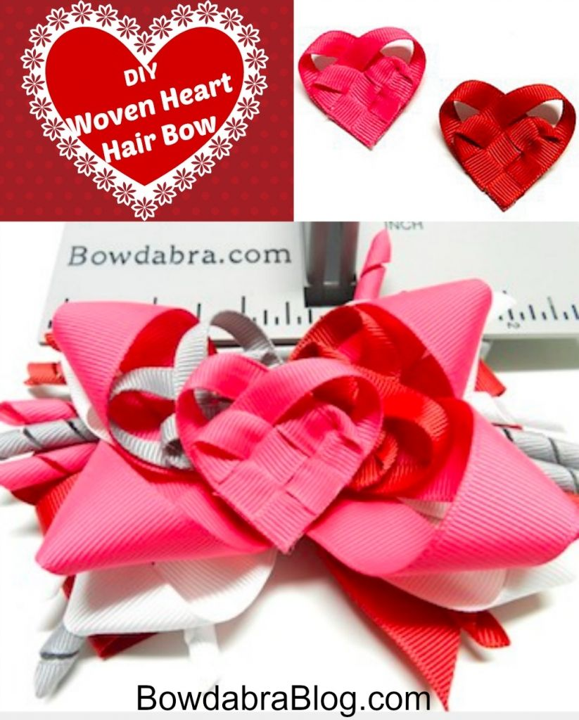 How to make a beautiful heart hair bow heart hair hair bow and diy woven hearts hair bows valentines day crafts tutorial baditri Image collections